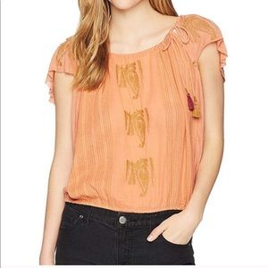 Free People Embroidered Tassel Tie Pullover Top